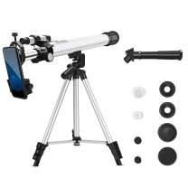 Telescope for Kids Beginners 24/300 Refractors, 50mm Aperture 600mm AZ Mount Portable Travel Telescopes with 360°Adjustable Tripod, Finder Scope and Phone Holder