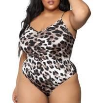Amlaiworld Women Plus Size Underwear Sexy Lingeries One Piece Bodysuit Deep V Neck Outfits Leopard Print Swimsuit