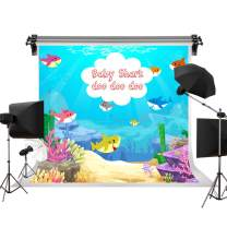 Kate 7x5ft/2.2m(W) x1.5m(H) Birthday Party Background Blue Ocean Shark Summer Sea Beach Backdrop Baby Shark Party Photography Backdrops Photo Studio Props