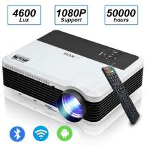 Wireless WiFi Movie Projector 1080P Supported, 4600 Lumen Bluetooth Home Cinema Projector Compatible with Smartphone, Laptop, TV Stick, PS4,HDMI, AV, VGA, USB, Built-in Speaker, Support Airplay Cast