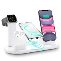 Wireless Charger, 3 in 1 Wireless Charging Station, Charging Dock for iPhone/AirPods, Qi-Certified Fast Wireless Charging Stand iPhone 11/11Pro/11Pro Max/X/XS/XR/Max / 8/8 Plus Samsung (White)