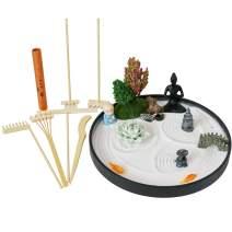 Desktop Meditation Zen Garden - Office Tabletop Mini Rock Sand Garden with Rake Tools Kit Set - Incense Holder Meditating Yoga Statue Sandbox Father Mather Colleague Birthday Gifts