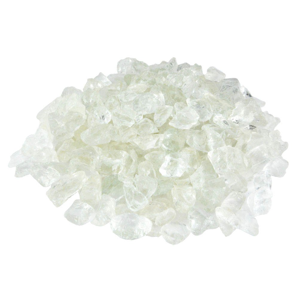 Mr. Fireglass Recycled Fire Glass for Natural or Propane Fire Pit Fireplace Gas Log Sets, 10 lb, Crystal Ice
