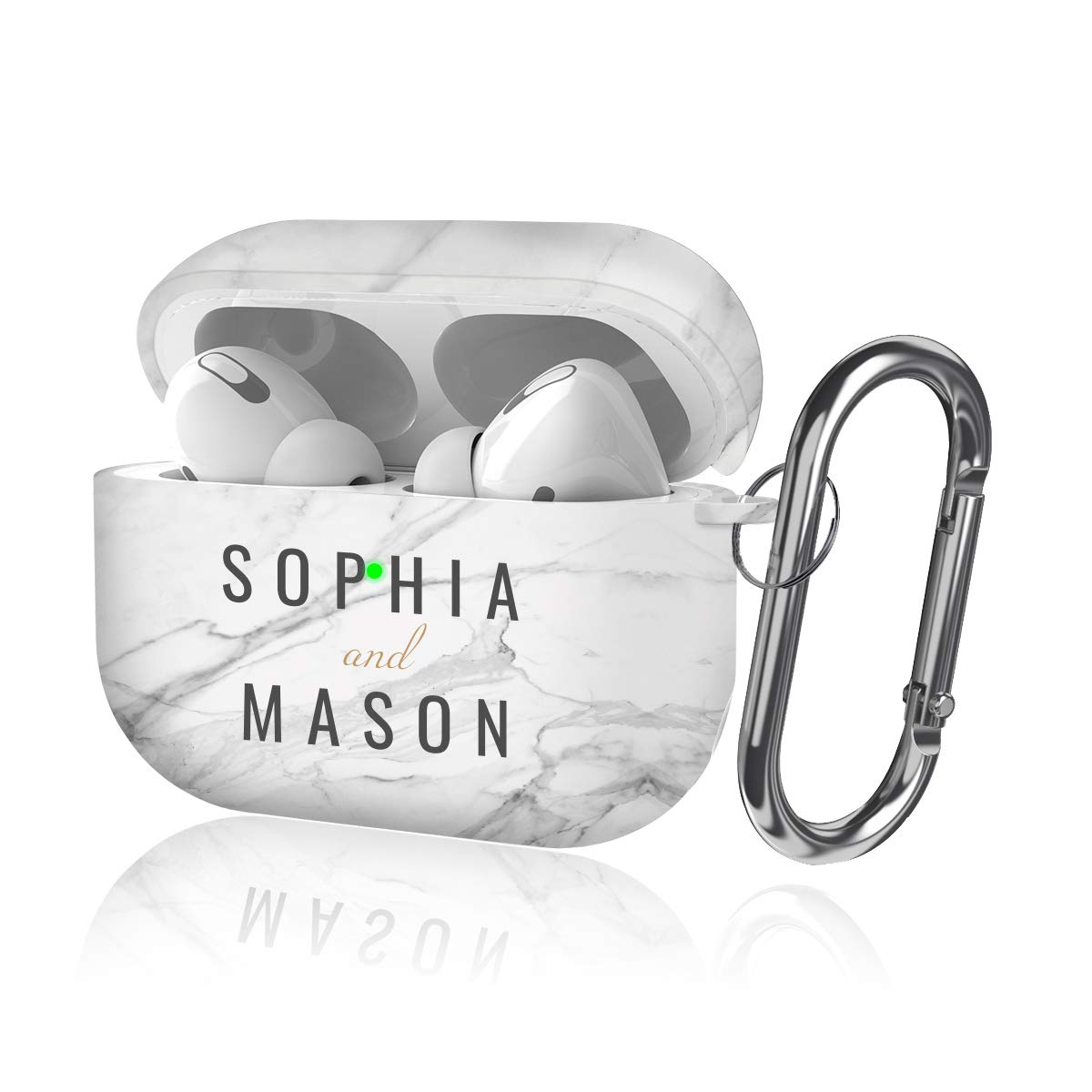 Youtec Airpods pro Case Cover, Cute Airpods pro 3 Protective Cover Skin for Girl Women Soft TPU Case with Keychain Compatible Airpod pro Charging Case 3rd Gen 2019 [Front LED Visible], White Marble