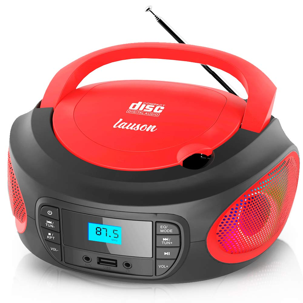 Lauson LLB596 CD Player Portable Boombox with FM Radio   Color Changing Lights   Portable Radio with USB Port to Play Music   Cd Player for Kids   Headphone Jack 3.5mm (Red)