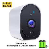 Battery Powered Camera,SECUPLUG+ 1080P HD Smart Camera for Home, Compatible with Alexa, 2-Way Audio Talk, Night Vision, HD Video with Motion Detection, IP65 Waterproof, Free 32GB TF Card