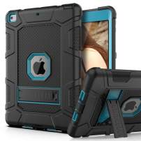 PBRO Case for iPad 9.7 2018/2017,iPad 9.7 iPad 5th / 6th Generation Shockproof Defender Kickstand Three Layer Protective Anti-Scratch Rugged Hybrid Case for iPad 2017/2018,Black Blue