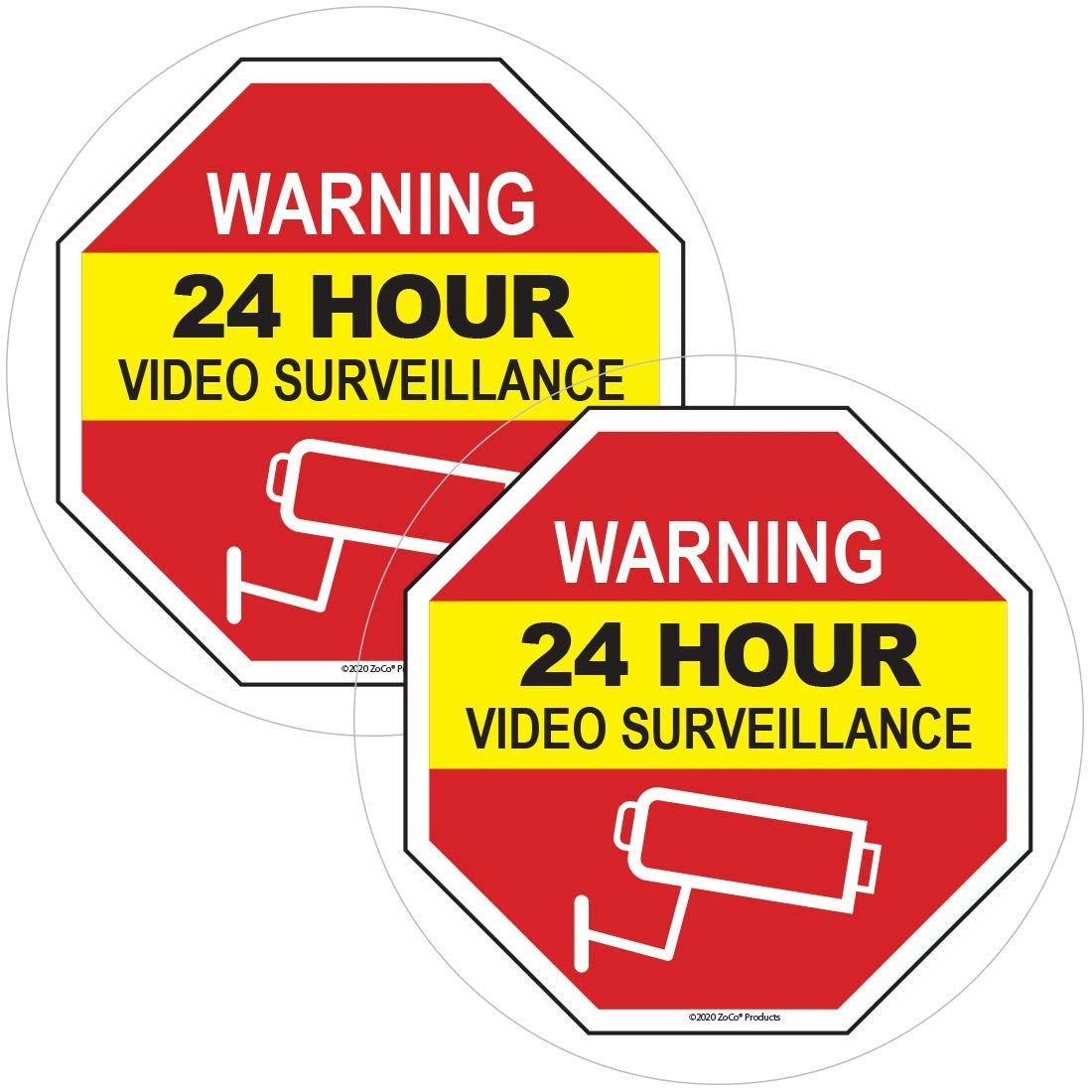 30x20 5-Pack 24 Hour Video Surveillance Basic Gray Clear Window Cling CGSignLab