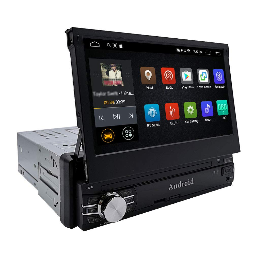 YODY Android Single Din Car Stereo Navigation 7 Inch Capacitive Touch Screen Support Bluetooth WiFi GPS Mirror Link USB/SD/AUX/AM/FM Android Car Radio with Backup Camera and Microphone (No DVD)