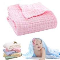 Lesirit Baby Muslin Washcloths Cotton Gauze Baby Child Bath Towel Blanket (Pure Pink)