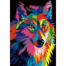 Diamond Painting Kits for Adults Kids, 5D DIY Colorful Wolf Diamond Art Accessories with Full Drill for Home Wall Decor - 11.8×15.7Inches