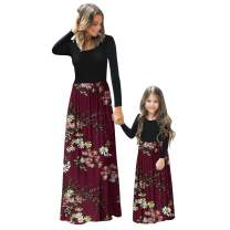 PopReal Mommy and Me Maxi Dresses Casual Floral Printed Plaid Long Sleeve with Pockets