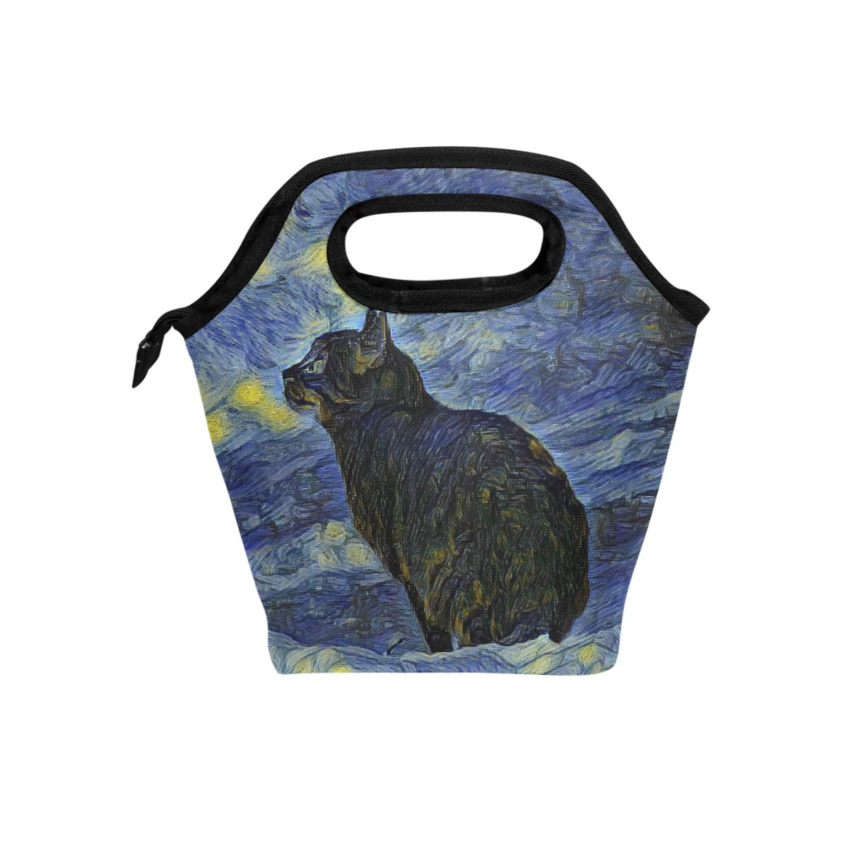 Naanle Cat Insulated Zipper Lunch Bag Cooler Tote Bag for Adult Teens Kids Girls Boys Men Women, Oil Painting Cat Lunch Boxes Lunchboxes Meal Prep Handbag for Outdoors School Office