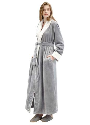 Women S Plush Fleece Robe Long Lounge