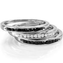 Dazzlingrock Collection 0.50 Carat (ctw) Round Black and White Diamond Ladies 3 pcs Wedding Band 1/2 CT, Sterling Silver