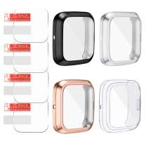AFUNTA 4 Pcs TPU Screen Protector & 4 Pcs Screen Protector Case Compatible Fit-bit Versa 2, Soft Ultra Slim Full Protective Cover Case for Versa 2 Smartwatch Only