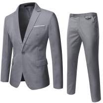 WEEN CHARM Men's Suits One Button Slim Fit 2-Piece Suit Blazer Jacket Pants Set