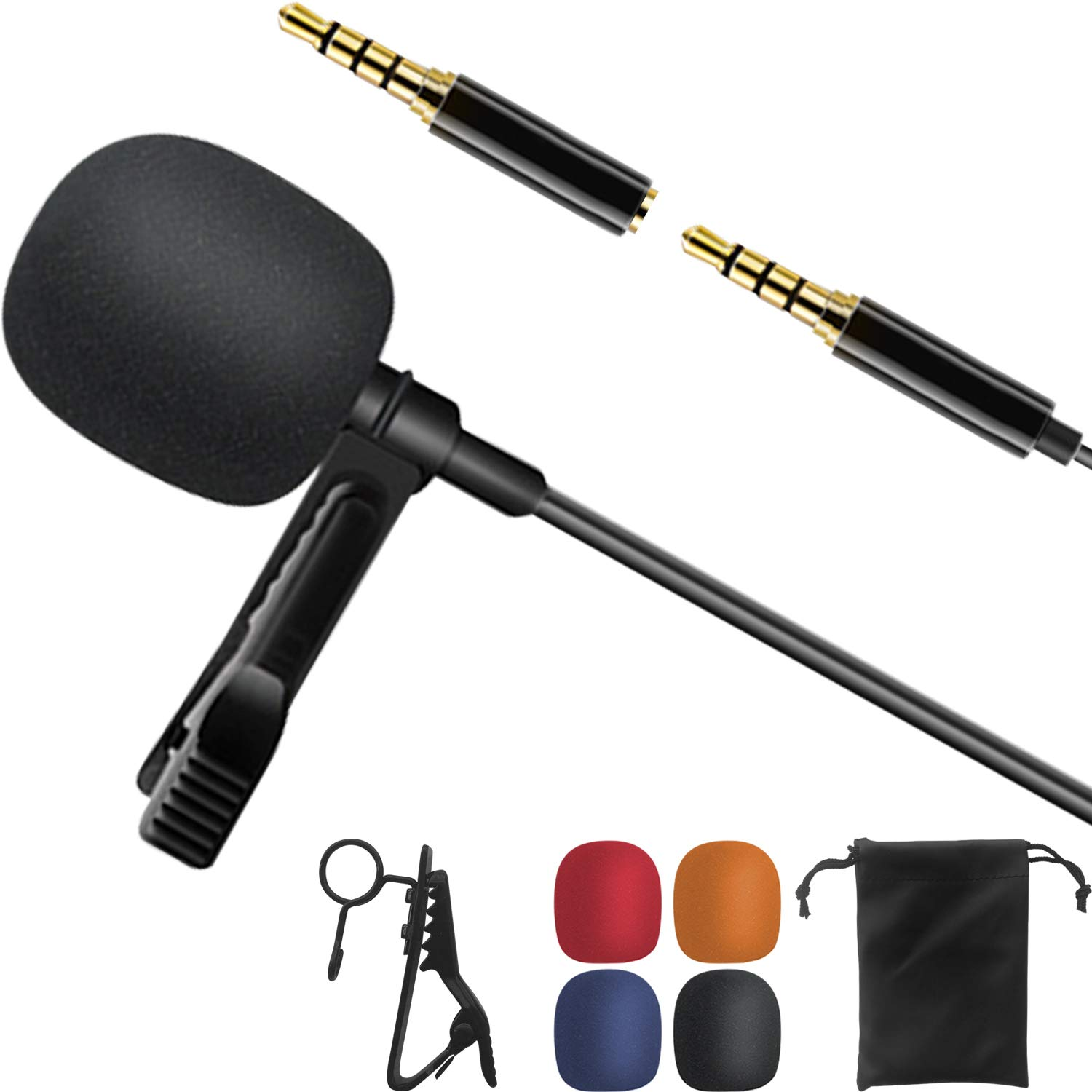 Lavalier Lapel Microphone for iPhone Android Smartphone, Omnidirectional Condenser Mic for DSLR Camcorder Laptops, Recording Mic for Youtube,Interview,Video,Vlogging