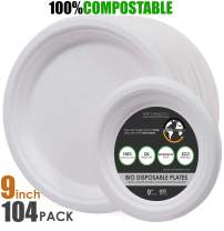"""Earth's Dreams 100% Compostable 9"""" Paper Plates White [104-Pack] Heavy-Duty Quality Disposable Biodegradable Eco-Friendly Dessert Plates, Sugarcane Bagasse +4Count 6"""""""