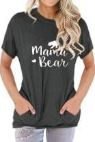 Pink Queen Women's Mama Bear Short Sleeve Crew Neck Pockets Top T-Shirts