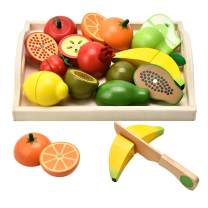 CARLORBO Wooden Toys for 2 Year Old - PretendPlay Food Set for KidsPlayKitchen,9 Cuttable Toy Fruit and Veg with Wooden Knif and Tray,Gift Idea for Boy Girl Birthday