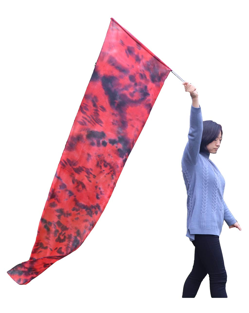 Winged Sirenny 2.5m Hand Painted Colorful Light Weight Flowy Soft Silk Flag with Rod, Church Liturgical Praise & Prophetic Worship Adoration Dance Banner, Pracice Flag Streamer for Christian Dancer Beginners (Lava)
