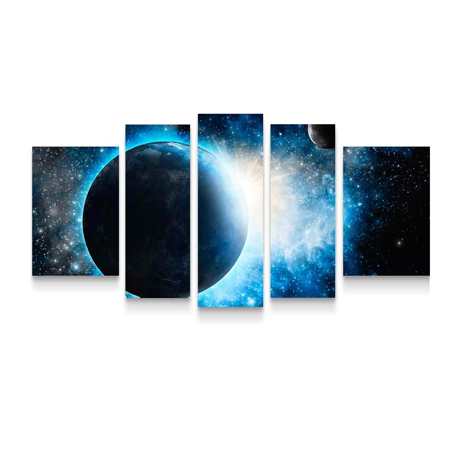 Startonight Canvas Wall Art Cosmos - Space Art Framed Set of 5 Large 36 x 71 Inches
