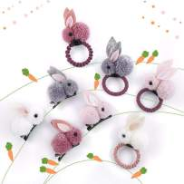 Beyond280 Cute Elastic Hair Ties and Hair Clips for Toddlers Teen Girls and Young Women Adorable Rabbit Bunny Hair Accessories for School and Work Pack of 8 (Pink, White, Grey, Red)