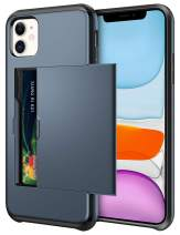 SAMONPOW Wallet Case for iPhone 11 Case with Card Holder Dual Layer Hybrid Shell Heavy Duty Protection Shockproof Anti Scratch Soft Rubber Bumper Cover Case for iPhone 11 6.1 inch Dark Blue
