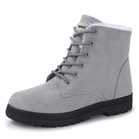 Womens Fleece Lace Up Ankle Boots Winter Warm Round Toe Shoes Size Mid Booties