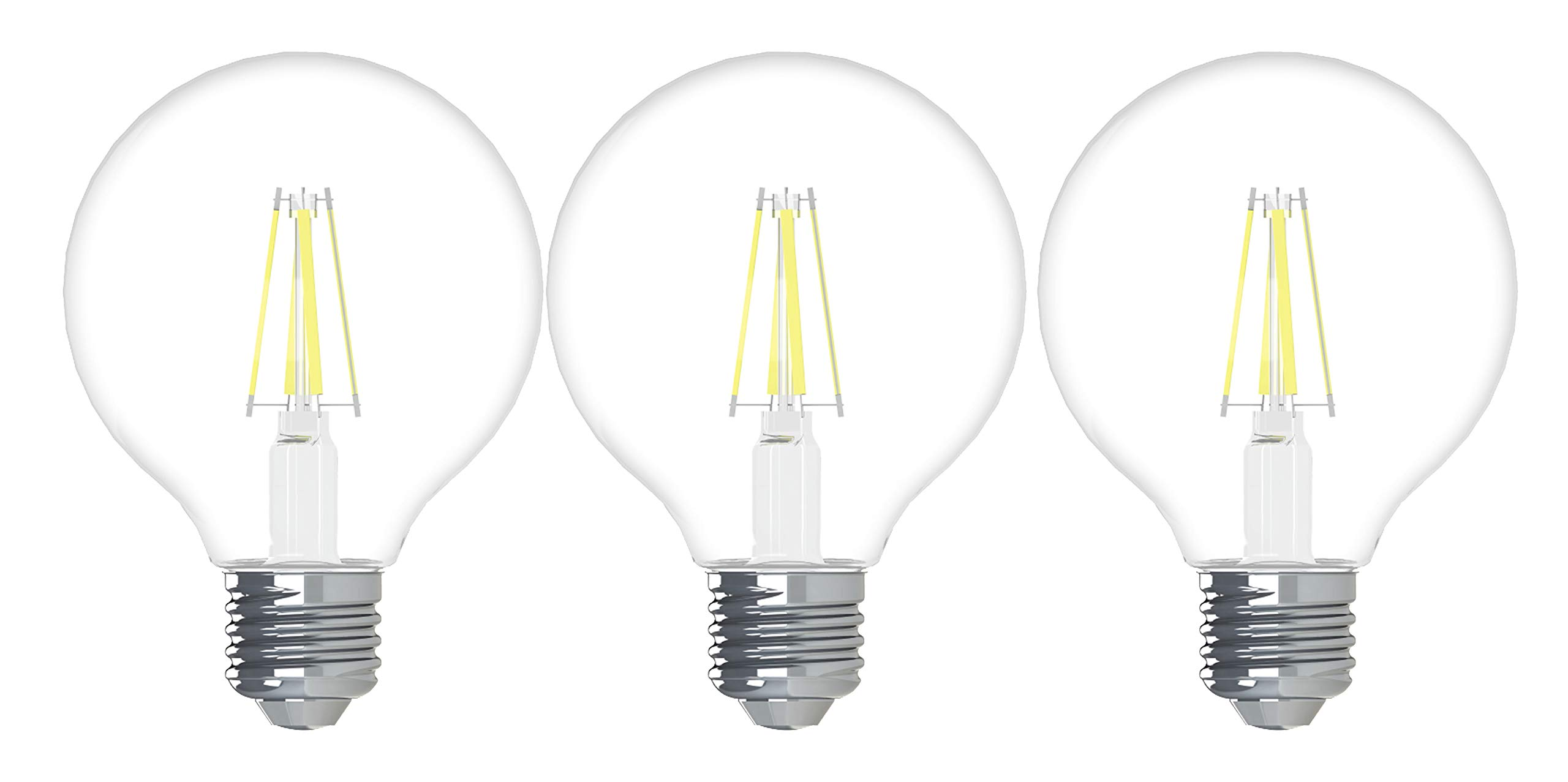 GE Lighting 43306 Relax HD LED (60-Watt Replacement), 500-Lumen G25 Bulb, Medium Base, Soft White Clear, 3-Pack, Title 20 Compliant, 3 Count