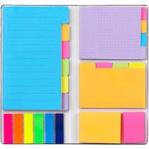 Colored Sticky Note Set,WELZA Deluxe Divider Self-Stick Notes Pads Bundle, Prioritize with Color Coding, 60 Ruled (3.7x6), 48 Dotted (3.7x3), 48 Blank (3x3.7), 48 Per Rectangular, 25 Per PET Color