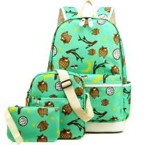Kemy's Owl School Backpack for Girls Set 3 in 1 Cute Printed Bookbag 14inch Laptop School Bag for Girls Water Resistant Thanksgiving Day Christmas Gifts