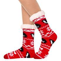 Women's Fleece Lining Fuzzy Soft Christmas Crew Stockings Slipper Socks