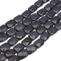 """Oameusa Agate Beads 12x16mm Blue Sandstone Rectangle Agate Beads Round Beads Gemstone Beads Loose Beads Accessories Agate Beads for Jewelry Making 8"""" 1 Strand per Bag-Wholesale"""