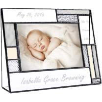 Personalized Baby Picture Frame Grey and Yellow Engraved Glass 4x6 Photo Nursery Decor Newborn Gift for Girl or boy J Devlin Pic 392-46H EP530 (4x6 Horizontal)
