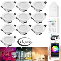 Smart Led Downlight Kit, FVTLED 10pcs WiFi Wireless Bluetooth 5W Dimmable Recessed Spot RGBWC Multicolor Color 5 in 1 Ceiling Spotlight with Touchscreen Smart Switch & and BT Mesh Smart Bridge