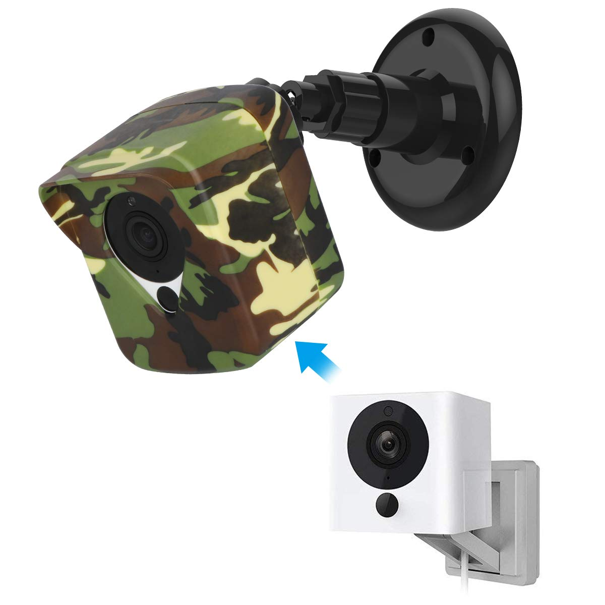 Wyze Cam Camera Wall Mount Bracket, COOWUFAN Weather Proof 360 Degree Protective Adjustable Housing Mount and Cover for Wyze Cam V2 V1 and Ismart Spot Camera Indoor Outdoor (Camo(1 Pack))