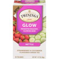 Twinings of London Daily Wellness Tea, Glow Healthy Skin Nettle, Strawberry & Cucumber, Flavored Green Tea, 18 Count, (Pack of 6)