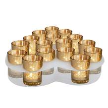 Moyu Home Gold Mercury Votive Candle Holder Set of 16- Made of Mercury Glass with A Speckled Gold Finish - Adds The Perfect Ambience to Your Wedding Decorations Or Home Decor