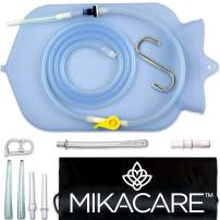 Mikacare Enema Bag Kit Clear Non-Toxic Silicone. for Coffee and Water Colon Cleanse. 6 Foot Long Hose, BPA and Phthalates Free, 6 Tips 3 Quart
