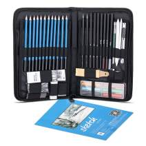 WONYERED Sketch Drawing Pencil Set Graphite Charcoal Pencils Erasers Craft Knife Sketch Book Zippered Professional Carry Bag Art Kit for Artist Beginner Student Kids & Adults(48PCS)