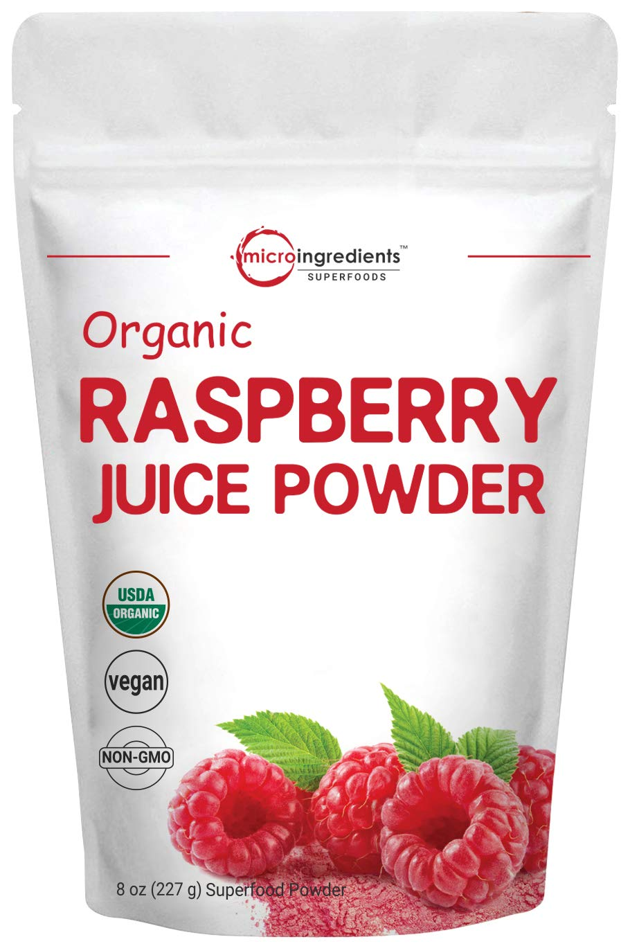 Sustainably US Grown, Organic Freeze Dried Raspberry Juice Powder, 8 Ounce, Containers Immune Vitamin C for Immune System Booster, Rich Fatty Acids, Minerals and Antioxidant, Vegan Friendly