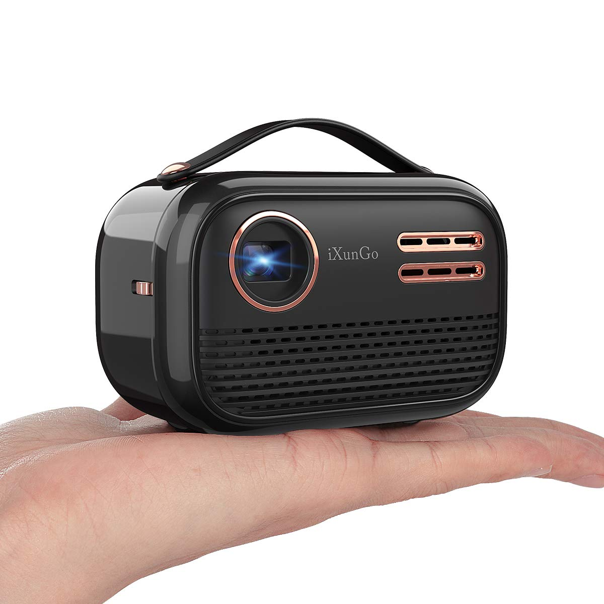 YAKAR portable Wi Fi projector. Wireless screen projector supporting 1080p and 150 ANSI lumens. Built-in Bluetooth, speaker, battery. Compatible: TV Stick,iPhone, Android, HDMI, USB and tablet (black)