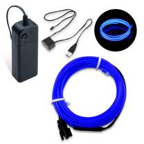 SZMAITOU EL Wire Neon Light, Neon Glowing LED Strip Electroluminescent Wire with AA Battery Controller USB Driver for Halloween Christmas Costume Party DIY Decoration Car Decor Holiday - 3m/10ft, Blue