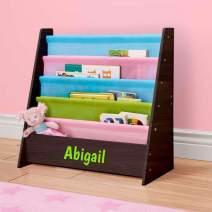 DIBSIES Personalized Kids Bookshelf (Espresso with Pastel Fabric)