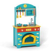 ROBUD Wooden Play Kitchen Set - Pretend Play Toy Gift for Kids Toddlers Boys Girls, Ages 2 3 4 5 6 7 Years Old and Up