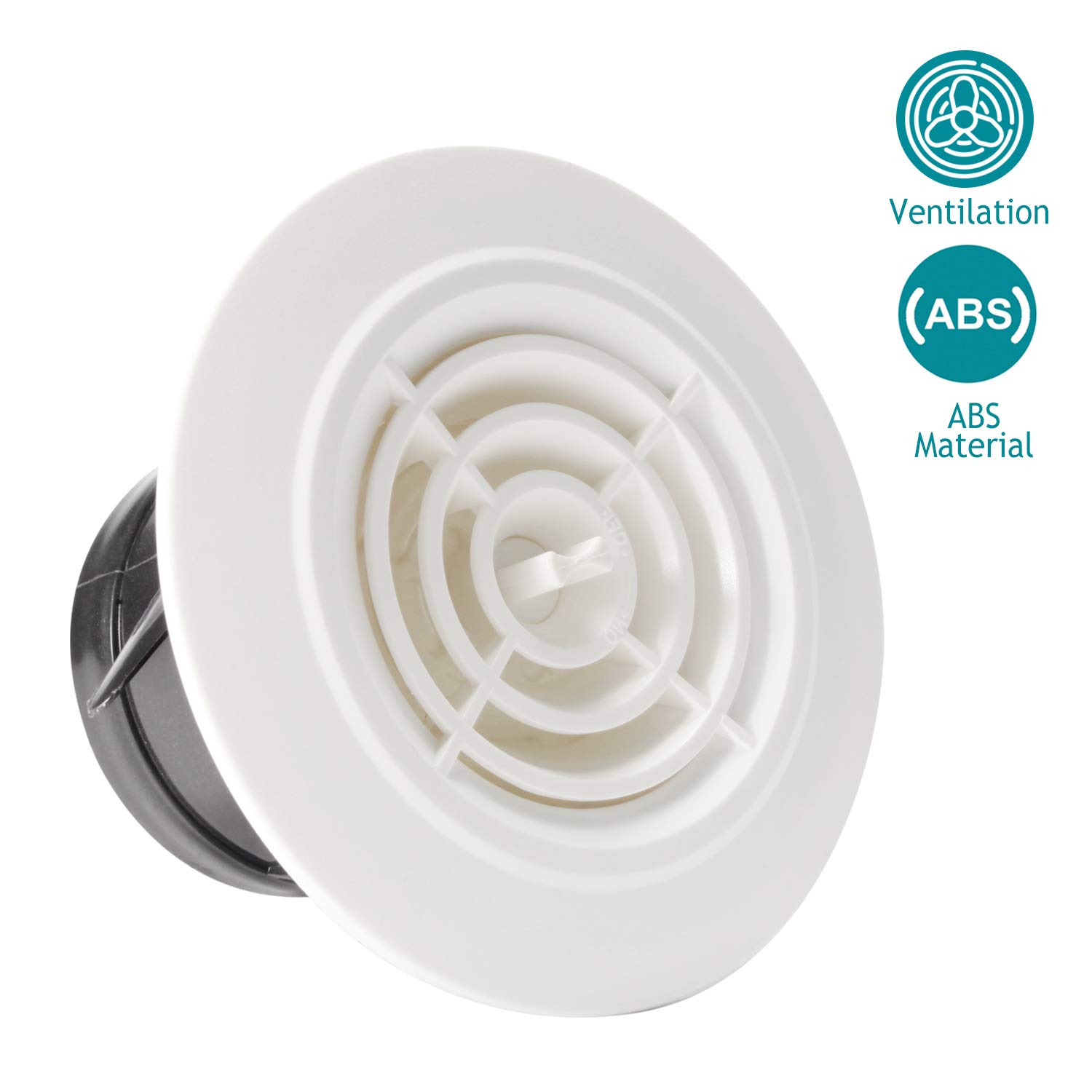 HG POWER 3 Inch Round Air Vent ABS Louver White Grille Cover Adjustable Exhaust Vent Fit for Bathroom Office Kitchen Ventilation