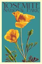 Yosemite National Park, California - Poppy - Letterpress (36x54 Giclee Gallery Print, Wall Decor Travel Poster)