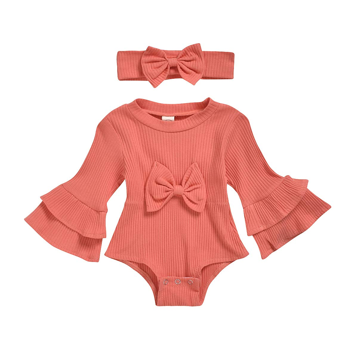 HZYKOK Toddler Baby Girl Clothes Onesie Romper Ruffle Long Sleeve One Piece Jumpsuit with Bow 0-24 Months
